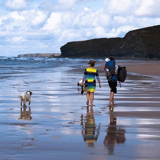 Playas para perros. Familia paseando por la playa con su perro